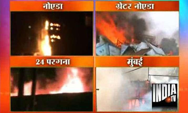 four fire incidents in noida mumbai and kolkata