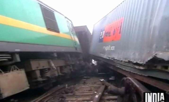 four wagons derail in fog near delhi after goods trains