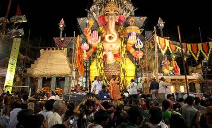 ganesh chaturthi begins in hyderabad with gaiety