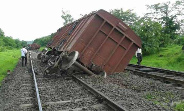 goods train derails several trains schedule hit