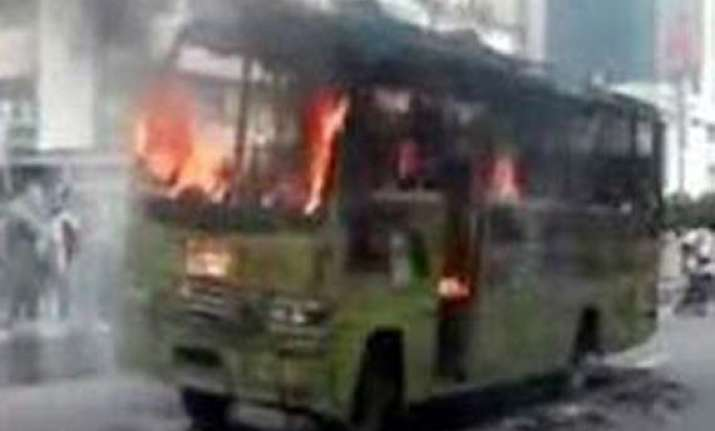govt bus torched in meghalaya
