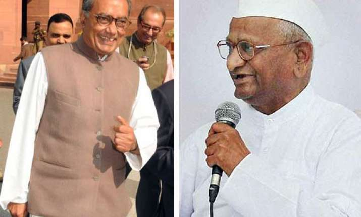 hazare s associates are close to bjp says digvijay singh