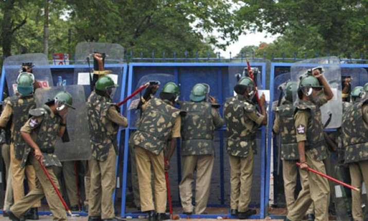 heavy police deployment for chalo assembly protest today