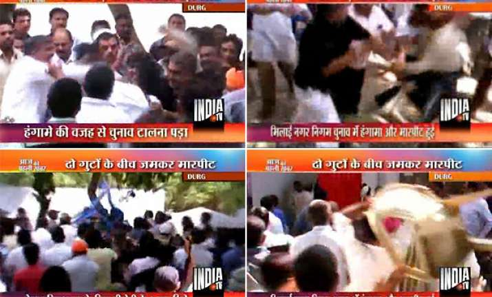 in chhatisgarh bjp councillors workers thrash one another