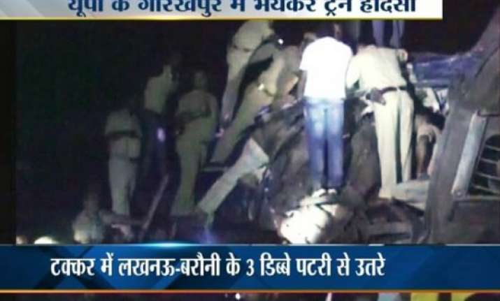 12 dead 45 injured in train collision near gorakhpur