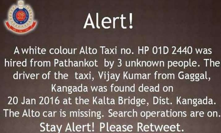 alert issued after driver of missing taxi from pathankot
