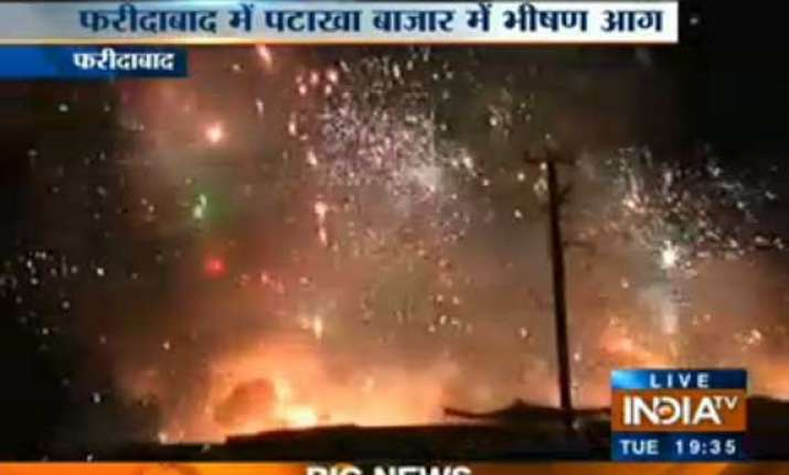 fire breaks out in faridabad dussehra ground
