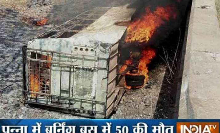 50 dead as bus falls off bridge catches fire in mp