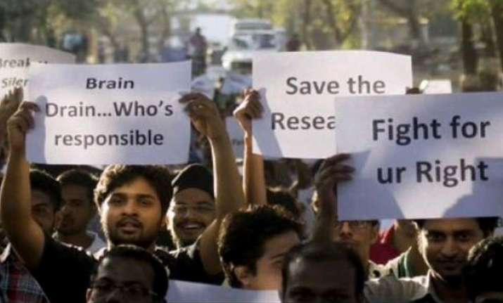 research fellows continue to protest across india against