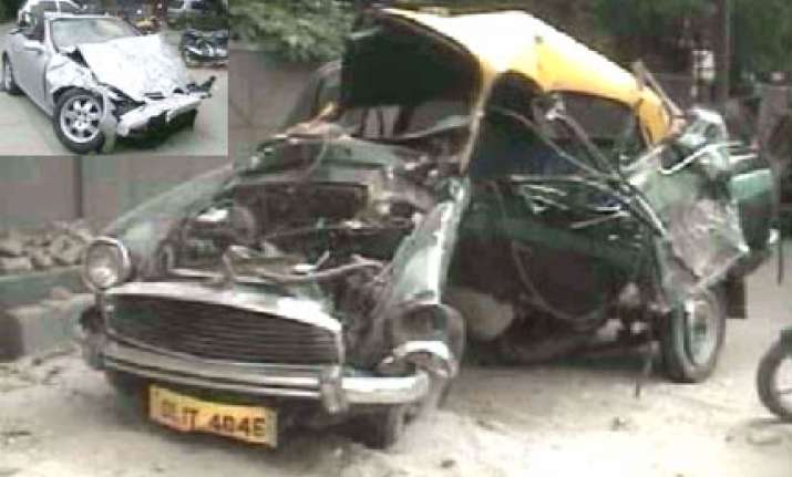 one killed as politician s mercedes smashes up a cab in