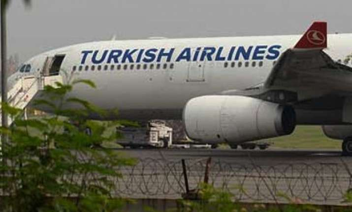 grounded turkish airlines plane leaves for istanbul from