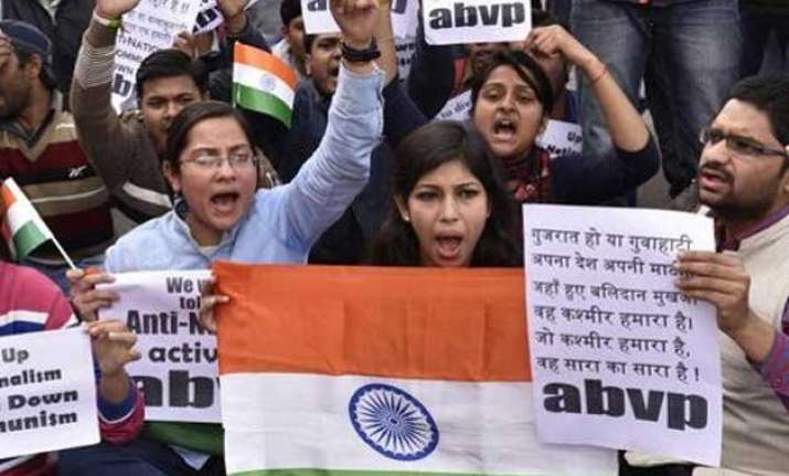 abvp holds march to denounce anti nationals