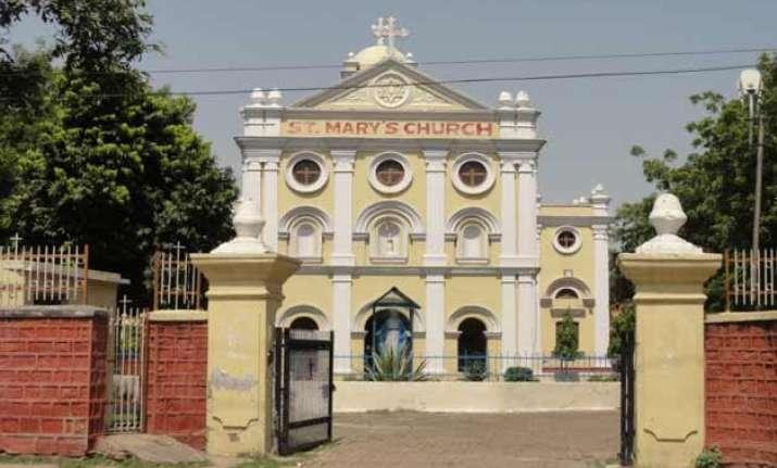 church vandalised in agra statues damaged