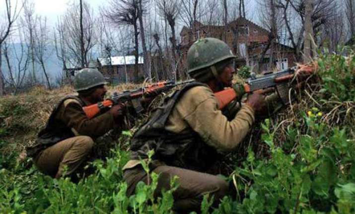 militant holed up in house encounter on with security forces