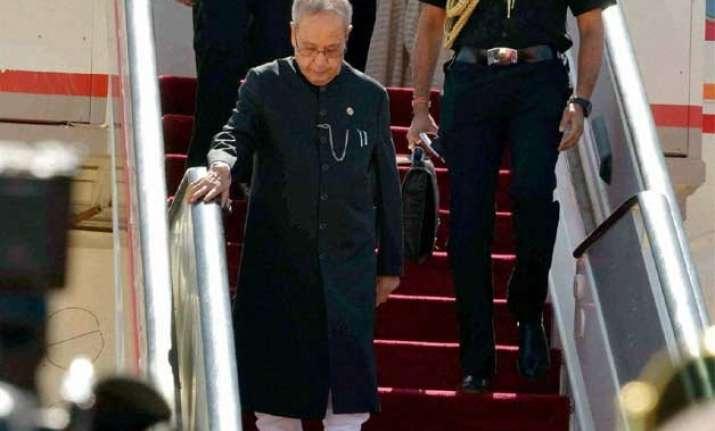 president pranab mukherjee arrives on a milestone visit to