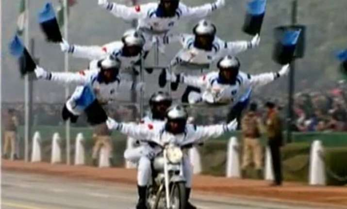 army motorcyclists leave republic day parade audience