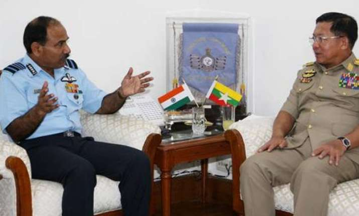 myanmar army chief meets iaf chief arup raha