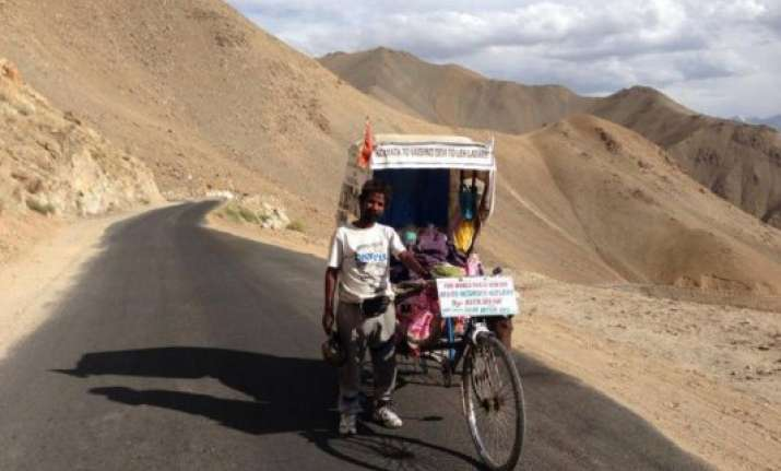 kolkata rickshaw puller pedals his way to ladakh
