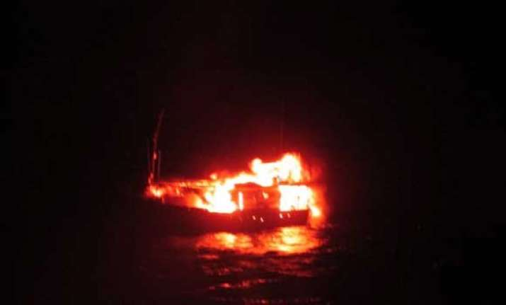 pakistani fishing boat intercepted by coast guards blown up