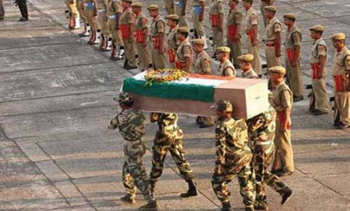 crpf gives emotional tributes to its two slain personnel