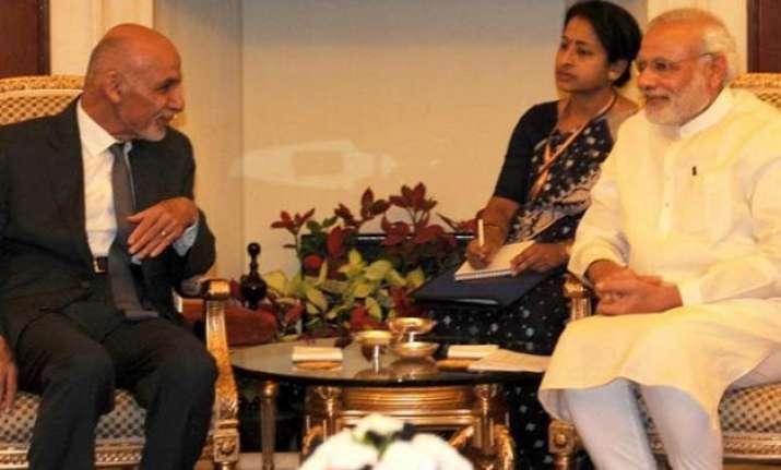 ghani modi hold delegation level talks