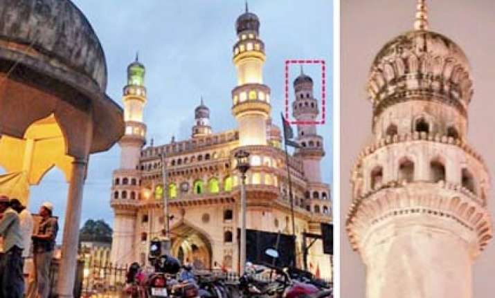 parts of charminar fall after downpour