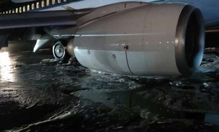 jet airways plane s landing gear collapses close shave for