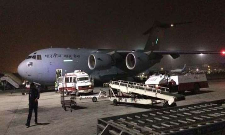 iaf aircraft with 225 indians evacuated from yemen lands in