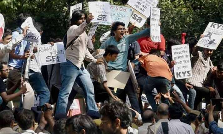 scores of students detained during protest over dadri