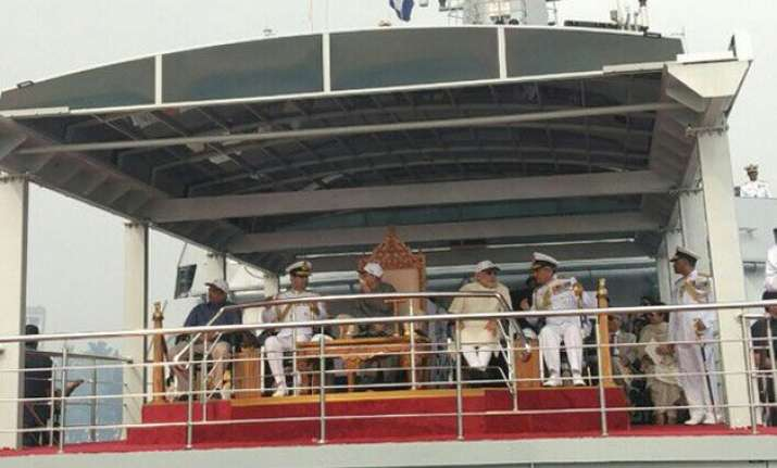 with pm modi onboard president mukherjee reviews fleet of