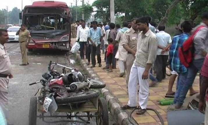 three low floor buses collide in west delhi one dead