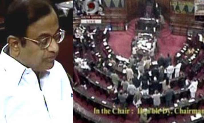 bjp uproar in rs over chidambaram s saffron terrorism remark