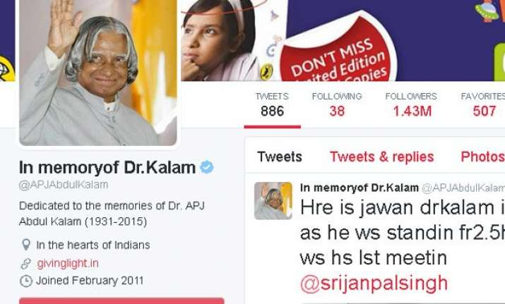 apj abdul kalam s twitter account to remain alive in new