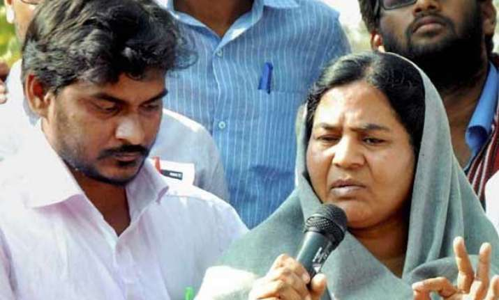 rohith vemula s mother admitted in icu due to chest pain
