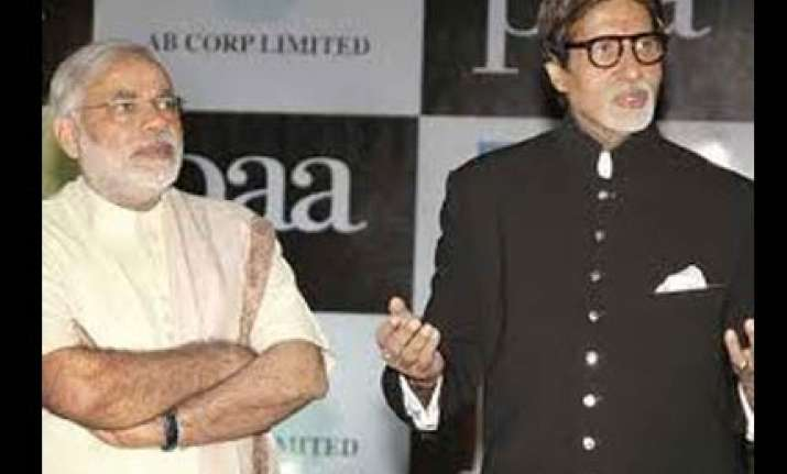 promotional advts featuring bachchan released by modi