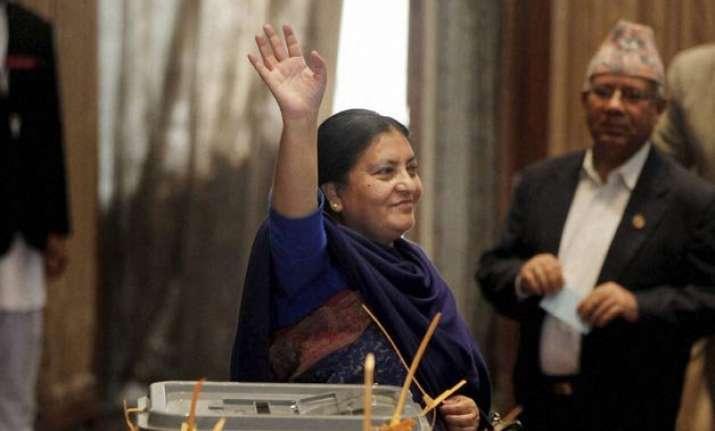 pranab mukherjee congratulates nepal s first woman president