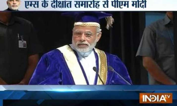 pm narendra modi attends 42nd convocation of aiims