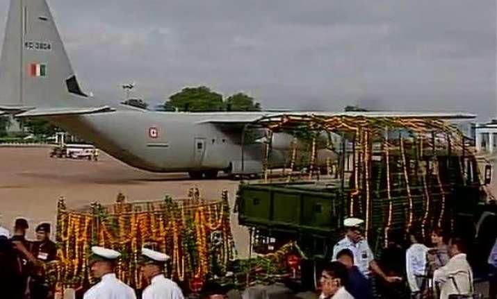 apj abdul kalam s mortal remains arrive in rameswaram