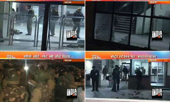 irate mob stones delhi metro tilak nagar station after eve