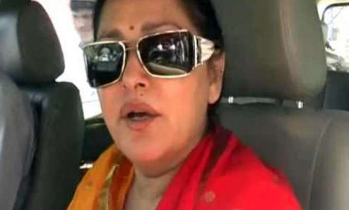 stone pelted at jaya prada s car during her campaign in
