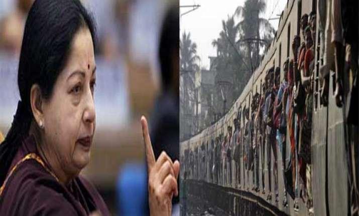 jayalalithaa demands roll back in rail fare hike