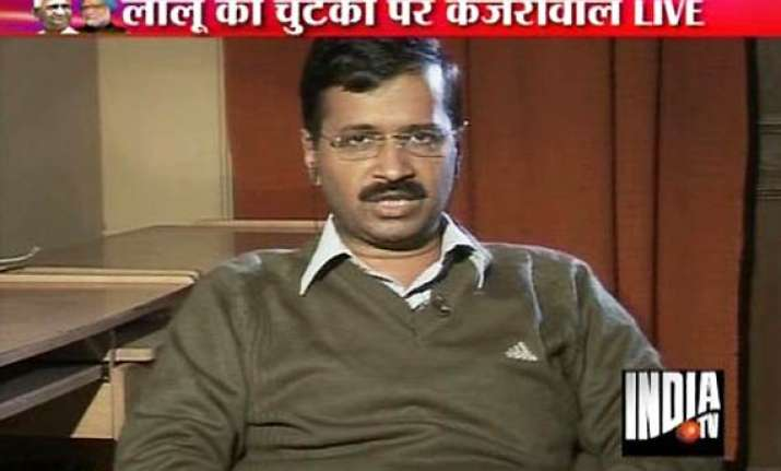 kejriwal tells india tv leaders like lalu will be the first