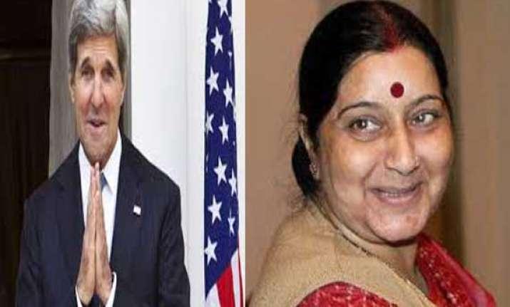 kerry congratulates sushma swaraj