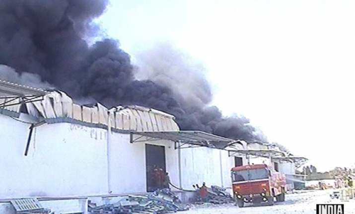 lakhs worth electronic goods gutted in lg godown fire in
