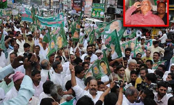 lalu brings out rajbhavan march against advani yatra