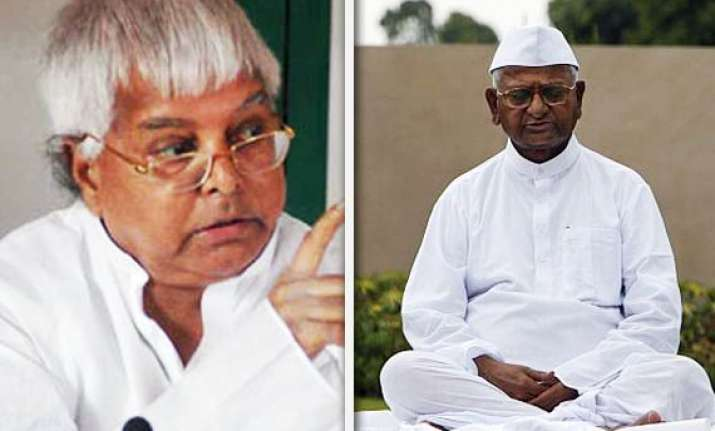 lalu objects to hazare s remarks on mps