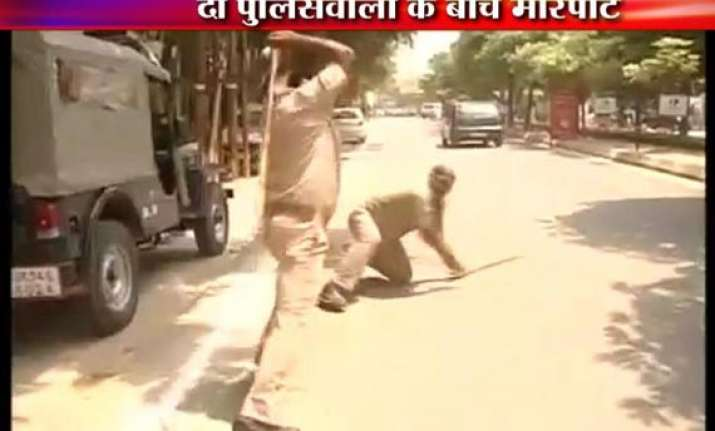 live footage of two pac policemen in lucknow beating each