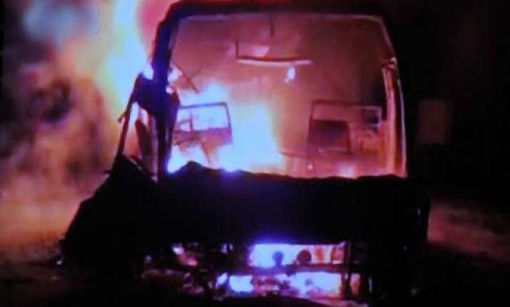 live reporting hyderabad bound bus catches fire in