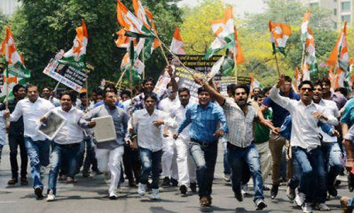 loc attack youth congress workers protest outside pak high