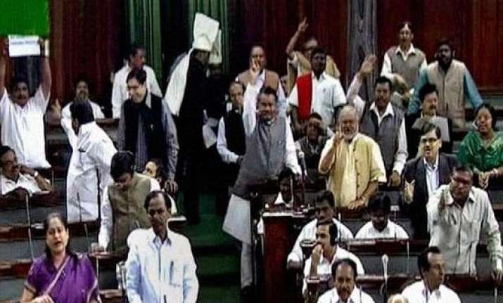 lok sabha adjourned twice because of telangana